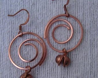 Pierced Earrings Copper Metal Coils with Tiny Copper Bells
