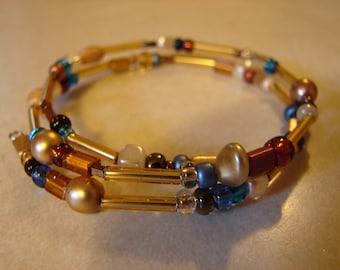 Bracelet Memory Wire Wrap Golden Glow
