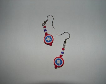Pierced Earrings Captain America Shield Red White and Blue