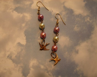 Pierced Earrings Upcycled Pearls and Love Birds