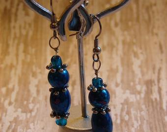 Pierced Earrings Dark Blue and Purple Glass Dangles the Color of Falling Dusk