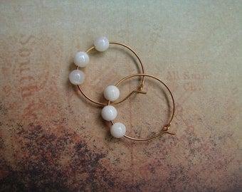 Pierced Earrings Mother of Pearl Beaded Hoops