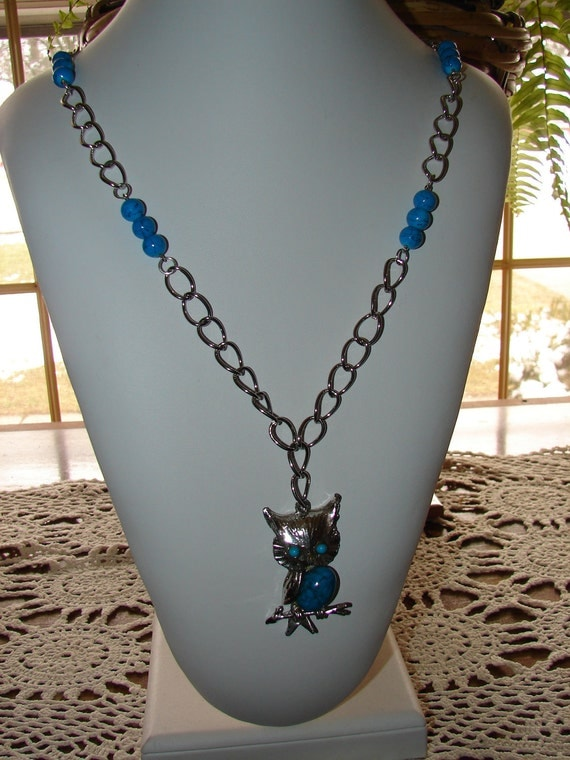 Necklace Upcycled Vintage Owl Pendant Beads and Metal Chain Pendant Necklace