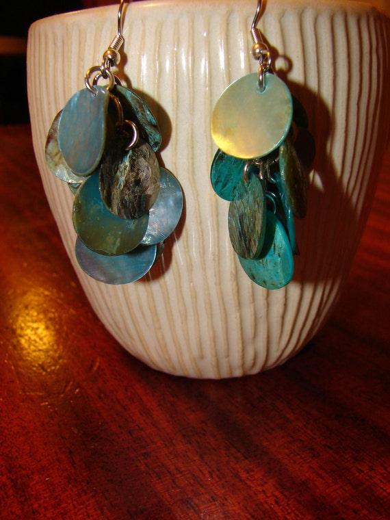 Pierced Earrings Mediterranean Blue Dyed Shell Clusters