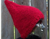 Hand Knit - Red Gnome Hat - Warm Plush Fabric - FREE SHIPPING