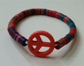 Reserved for Thisisi - Melon Vintage Vinyl Record Bead  Bracelet w Pink Peace Sign
