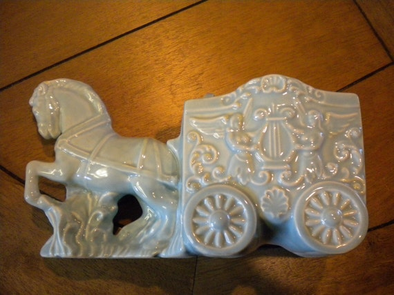 Ceramic Horse And Carriage Vintage Planter Turquoise