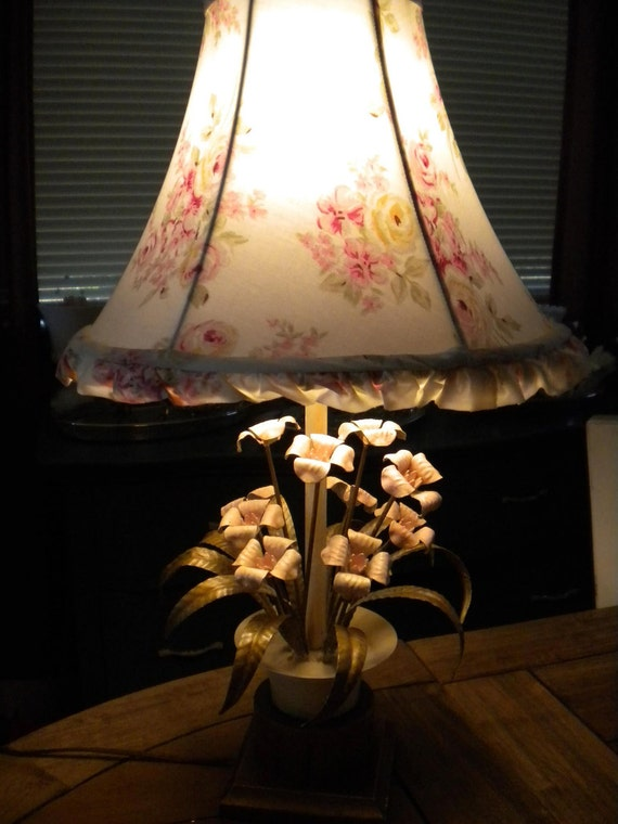 VIntage Italian Tole Lamp...Pale Pink, Shabby, And Oh So Sweet.