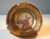 Glass Ashtray: Beanbag Cigarette Ashtray, Vintage Horse Head, Amber, Gold, Yellow