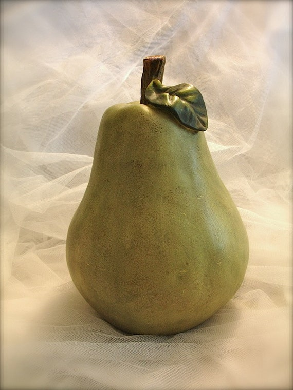 Vintage Large Pear Fruit Fruit Sculpture Green Wooden Pear