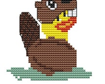 Cross Stitch Kit , Rubber Duck,  Beaver Costume,  Counted Cross Stitch,