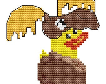 Cross Stitch Kit,  'Rubber Duck In A Moose Suit', Modern Cross Stitch Chart Pattern, Fun Cross Stitch, Moose Costume, Kit for beginners