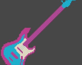 Cross Stitch Kit - Guitar - Choose your own colour