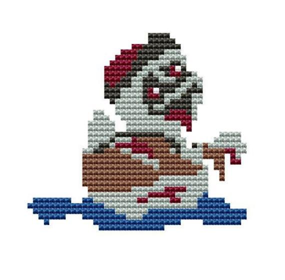Modern Cross Stitch Kit Zombie Rubber Duck Counted Cross Stitch