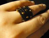 Black and Gold Unique Beaded Ring