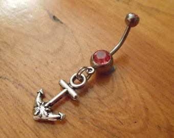 Belly button ring - Anchor and Pink Gem belly Button ring