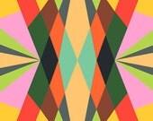Retro Digital Groove- Psychedelic Color Blocks Bright Happy Easy Simple Colorfield Commercial- 11x14 Print of Original Design