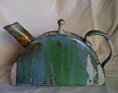Half-moon, abstractly painted Teapot