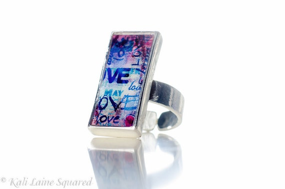 MEDIUM Purple Blue LOVE Short Rectangular Abstract Ring -  Resin Silver Pewter Adjustable Ring (Size 7 to 9) Ready to Ship (28)