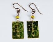Natural Brass Embossed 'Leaf' Earrings
