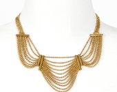 40s Gold Bib Necklace Chain Etruscan Revival Hippie Boho
