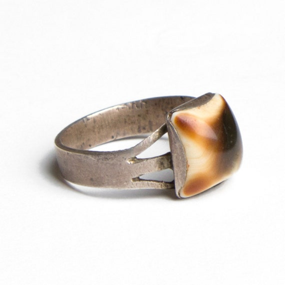 70s Vintage Ring Shell Square Silver Calico Tortoise Size 9
