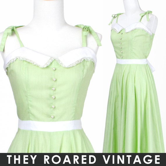 50s Vintage Dress Mint Lime Green White Lace Small Medium