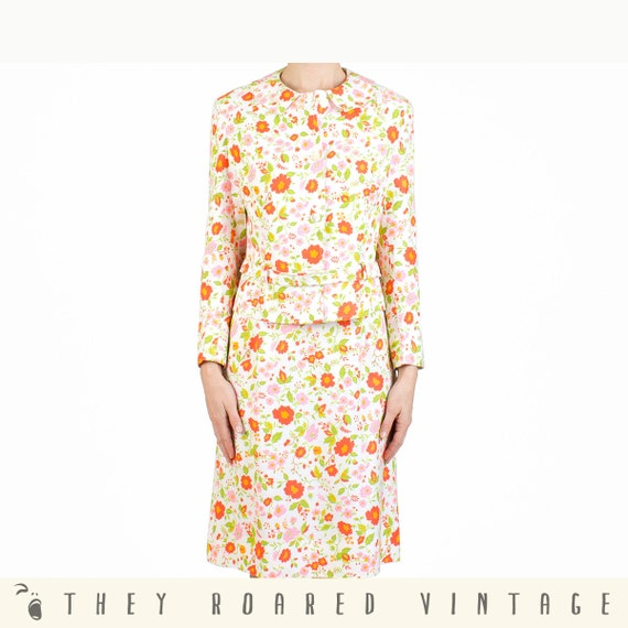 60s Floral Suit 2-Piece Mad Men Blazer Skirt Vintage Medium