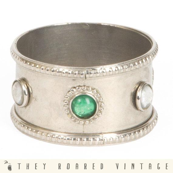 Vintage Bracelet Medieval Silver Glass 60s Hippie Gypsy