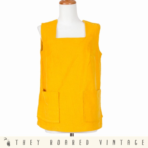 Vintage Top 60s Mod Mustard Yellow Corduroy Square Pockets Medium