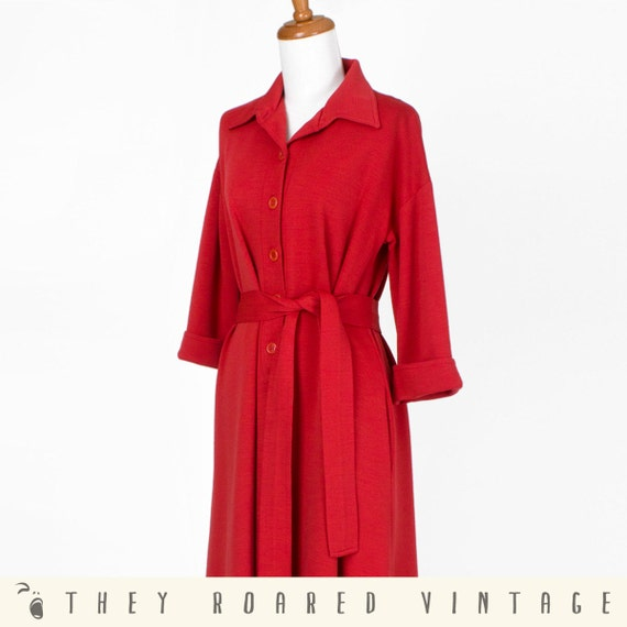 60s Vintage Dress Red Coat Dress Long Button Down Medium Large