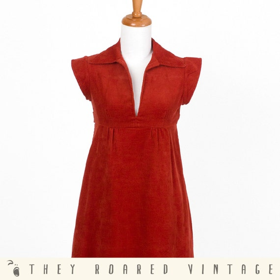 70s Collar Dress Vintage Dress Jumper Corduroy Red Orange Empire Waist XSmall Small