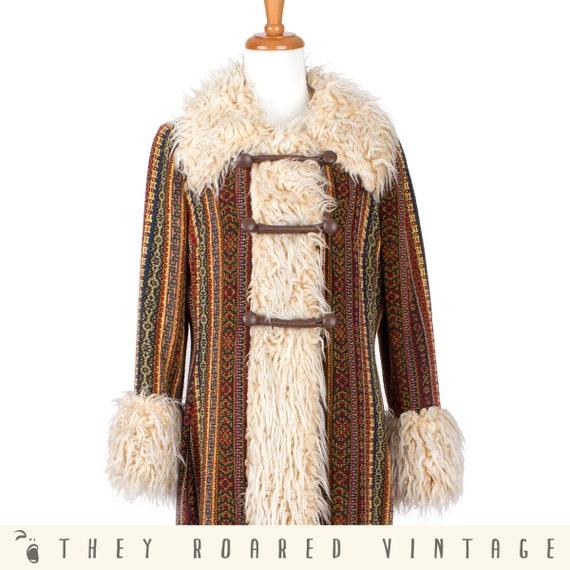 60s Vintage Coat --RESERVED-- Multicolor Tapestry Hippie Faux Fur Trim Medium Large