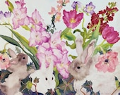 Bunnies in Spring Garden Watercolor Painting, 3 Rabbits with Pink Flowers Fine Art Print