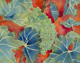 Green Grapes on Vine Watercolor Painting, Wine Vineyard Grape Leaves Fine Art Print