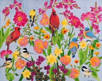 Songbirds in Flowers Cardinal Bird Watercolor Painting, Goldfinch Spring Tulip Fine Art Giclee Print, Carissa Joie Luminess Painting