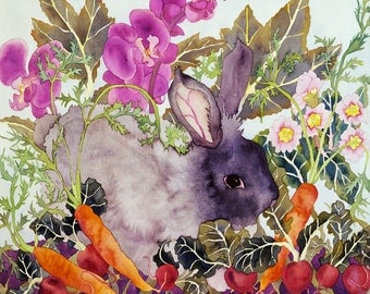 Angora Rabbit with Carrots in the Garden Watercolor Painting, Cute Bunny Fine Art Giclee Print