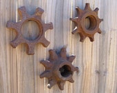 3pc Sprockets, Flowers, Industrial Steampunk Art, Rustic Country Decor, Found Items