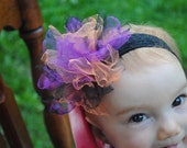 Halloween Frazzled tutu hair poof bow  Absolutely perfect for halloween