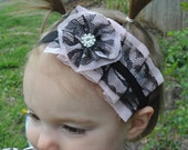 Vintage inspired cascading light pink and black lace headband with rolled flower, Great photo prop. Any size newborn to adult
