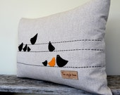 Birds on a Wire - Hand embroidered on Bamboo Hemp & Yak Wool with felt birds.