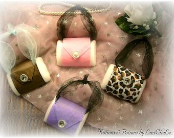 One Dozen Handmade Bar Soap Purse Pocketbook Party Favor Soap Bridal or Baby Shower Soap