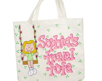 Hand Painted Personalized Baby Tote Bag