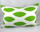 Decorative Pillow Cushion Cover - Accent Pillow - Throw Pillow - Lumbar - Ikat - White, Green - 12 x 18 Inch