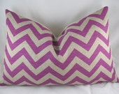 Decorative Pillow Cushion Covers - Accent Pillow -  Throw Pillow - Lumbar - Chevron - Zigzag - Purple Berry - 13 x 20 inch