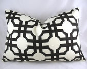 Waverly - Groovy Grill Licorice, Fretwork, Black - Decorative Pillow Cushion Covers - Accent Pillow - Throw Pillow - Lumbar - 12 x 18