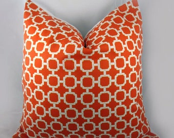 Decorative Pillow Cushion Cover - Accent Pillow - Throw Pillow - Indoor Outdoor - Hockley Mandarin, Orange, White, Khaki