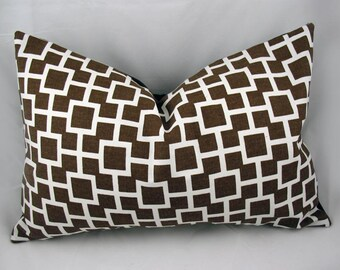 Robert Allen - Latticescape -Decorative Pillow Cushion Cover - Accent Pillow - Throw Pillow - Lumbar - Java, Chocolate, Brown