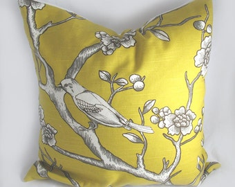Dwell - Decorative Pillow Cushion Cover - Accent Pillow - Throw Pillow - Vintage Blossom Citrine, Mustard, Yellow, Bird
