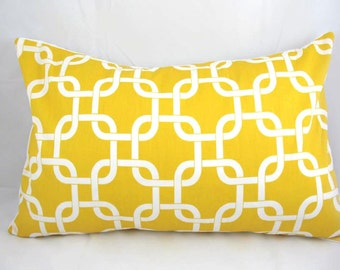 Decorative Pillow Cushion Cover - Accent Pillow - Throw Pillow - Links -  Yellow
